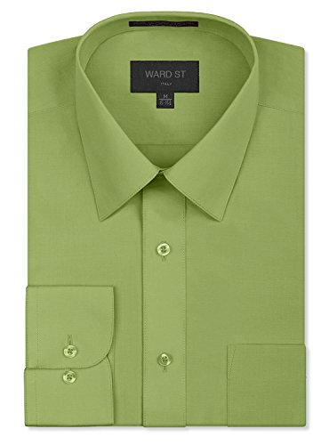 Pack Fits Apple - Ward St Men's Regular Fit Dress Shirts, 2XL, 18-18.5N 36/37S, Apple Green