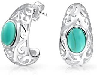 Bling Jewelry 925 Silver Filigree Synthetic Turquoise Half Hoops Earrings