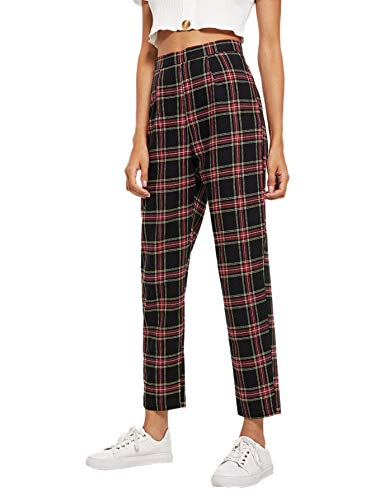 (Milumia Women's Casual Mid Waist Plaid Zip Side Pants Multicolor Small)