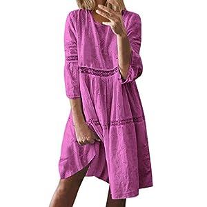 Ladies Boho Dresses Womens Half Sleeve Casual Fashion Baggy Dress Summer Beachwear Sun Dress for Women