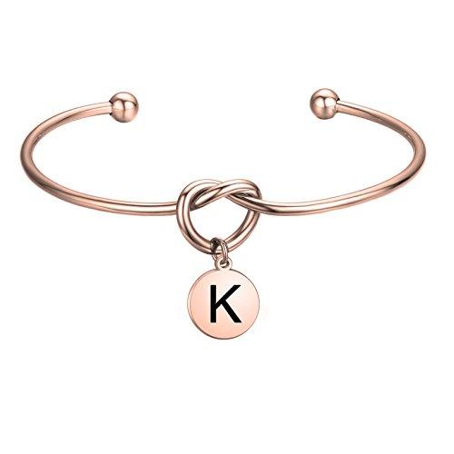 (FEELMEM Initial Bracelet Letter Bracelet-Simple Love Knot with Initial Charm Bangle Bracelet-Bridesmaid Gift-Love Knot Bangle Stretch Bracelet Gift for Women-Bridesmaid Jewelry(Initial Letter K))
