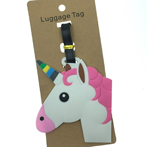 Cute Silicone Characters/Animals/Pirate Ship/London/Paris/Holland/Bus/Airplane Luggage Tags/ID for Travel and School (Unicorn)