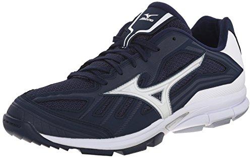 Mizuno Men's Players Trainer Turf Shoe, Navy/White, 11 M US (Shoes Mizuno Training Baseball)