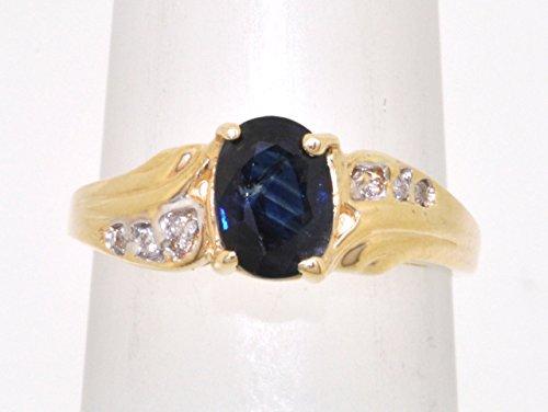 10K Yellow Gold Diamond Sapphire Ring