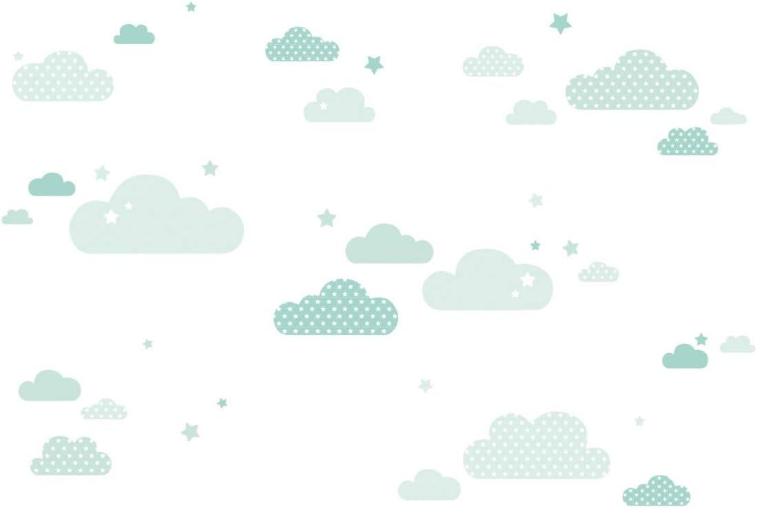 lovely label Pegatinas Infantiles de Pared de Nubes - Adhesivo Infantil Libre de PVC para Habitaciones de Niños y Bebés - Adhesivos Infantiles de 40 unidades/Menta
