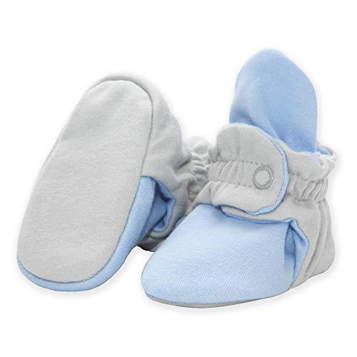 Zutano Organic Cotton Baby Booties, LIGHT GRAY/LIGHT BLUE, 3M (Cotton Booties)