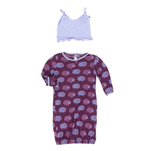 KicKee Pants Newborn Print Layette Gown & Ruffle Knot Hat Set, Little Girls - Grapevine Sheep, 0-3 Months