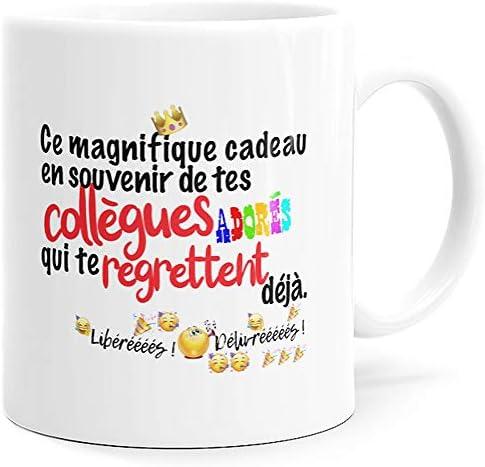 Mug Humour Collègue Tasse Message Drôle Rigolo. Idée Cadeau Original pour Départ en Retraite Mutation Travail Bureau Homme Femme pour Anniversaire Noël Plaisir. Dino Mugs le Sourire dès le Réveil.