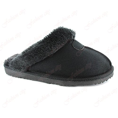 Aaishaz 786 Ladies Womens Luxury Snug Comfort Fur Lined Slippers Mules Sandals Shoes UK 3-8 (UK:{5}, Black)