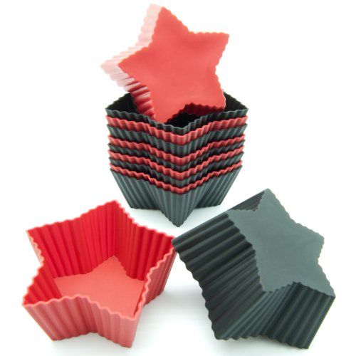 Star Candle Pan - Freshware CB-303RB 12-Pack Silicone Mini Star Reusable Cupcake and Muffin Baking Cup, Black and Red Colors