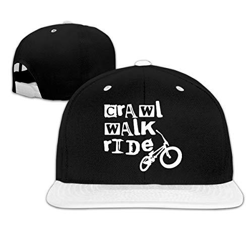 (Crawl Walk Ride Men's/Women's Contrast Color Baseball Cap Snapback Cap Hat White)