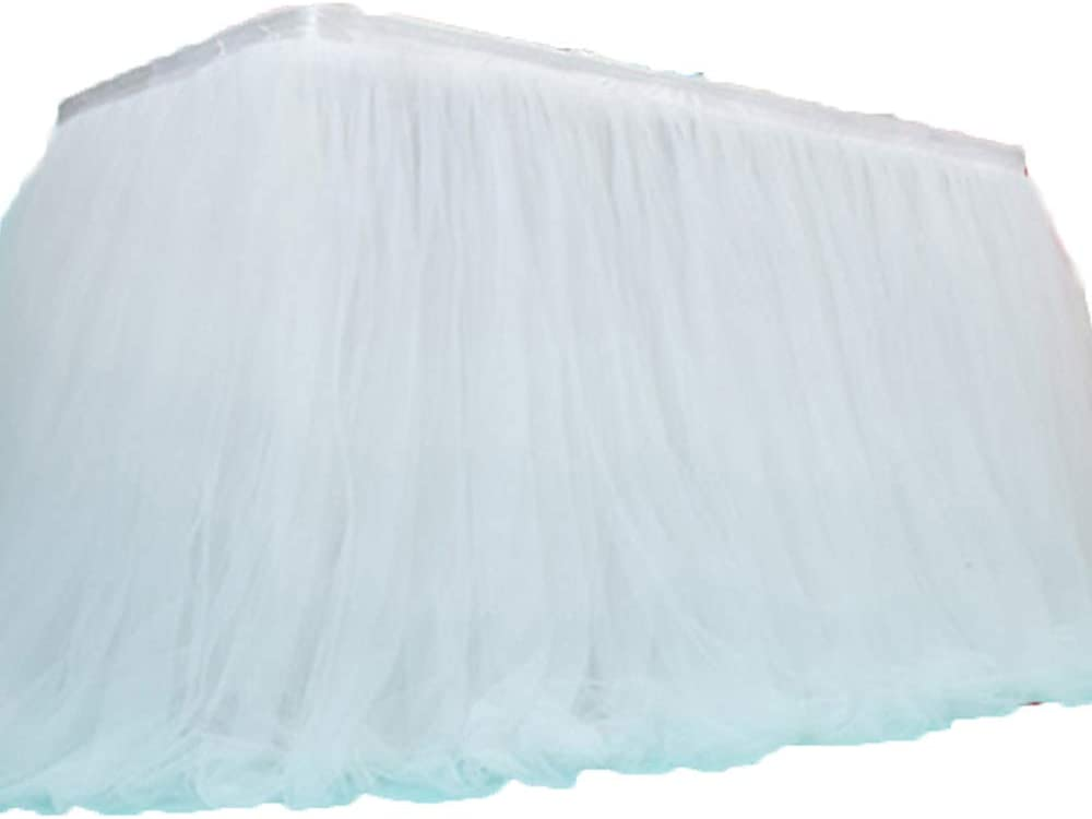 shellyliu 8ftX60cmX30inch Tutu Tulle Table Skirt Table Skirting Wedding Birthday Baby Holiday Parties Home Decoration (White, 8ftX30inch)