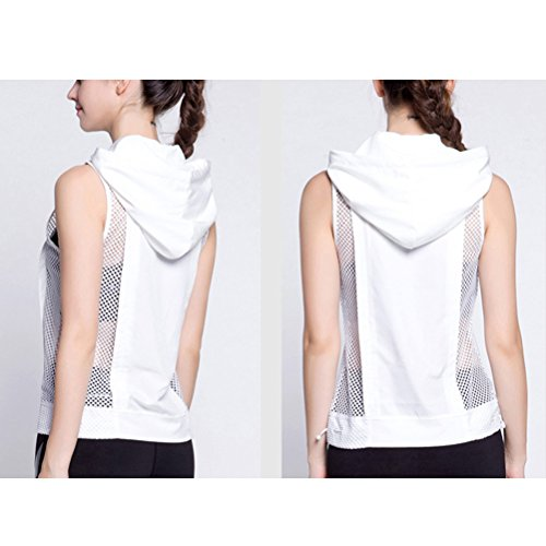 Zhhlaixing Women's Athletic Vest T-shirt Summer Sports Sleeveless Hooded Yoga Tops White