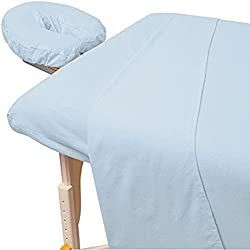 """600 Thread-Count 3-Piece Massage Table Spa Sheet Set (1Pc Fitted Sheet Fit up to 7"""" Inch Deep Pocket, 1Pc Flat Sheet & 1Pc Fitted Face Rest Cover) 100% Egyptian Cotton (Aqua)"""