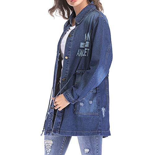Qiyun Impreso Chaqueta Mujer Blue Larga Gabardina Dark Mezclilla z Para Moda Manga Delgada De XrqIawX4