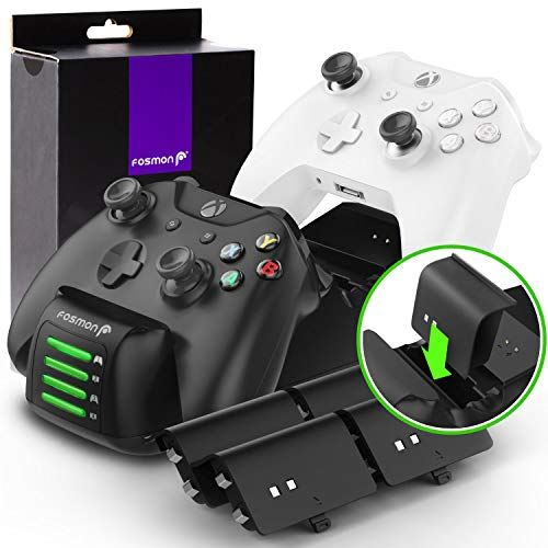 Fosmon Xbox One/One X/One S/Elite Quad PRO Controller Charger (Upgraded), [Dual Dock + 2 Additional Batteries Slot] High Speed Docking Charging Station with x4 Rechargeable Battery - C Micro X 1 Usb