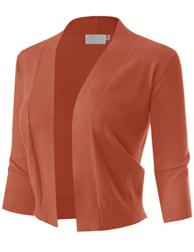 MAYSIX APPAREL 3/4 Sleeve Solid Open Bolero Cropped Cardigan for Women ORANGE3 L