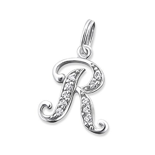 Solid 925 Sterling Silver Dangling Split Top ''Cursive Alphabet Letter w/ Crystal CZ'' Charm Bead 2767 for European Snake Chain Bracelets (R) by ICYROSE