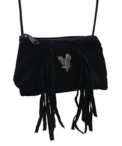 Eagle Crossbody Purse Suede 7 2 Flying Silver 5 4 Inches Stud amp; Bags Black X X Womens Cross Suede Black Fringe W Body q0ROYq