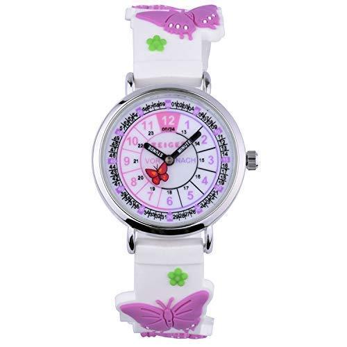 Reloj De Pulsera Infantil Niños Reloj Chica Reloj Niños Reloj Educativo niña Rosa corazón Pequeños Nina