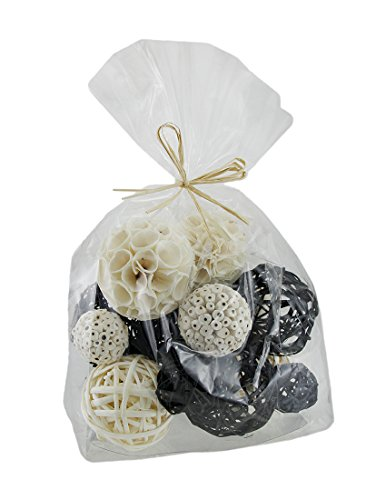 (Zeckos 18 Piece Back & White Exotic Dried Organic Decor Balls)