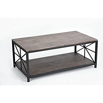 vintage dark brown black metal frame cocktail coffee table with lower shelf - Metal Frame Coffee Table