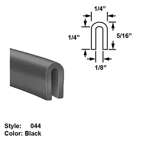 Silicone Rubber High-Temperature U-Channel Push-On Trim, Style 044 - Ht. 5/16'' x Wd. 1/4'' - Black - 25 ft long by Gordon Glass Co.