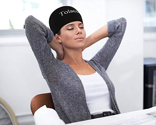 Tolaccea Headache and Migraine Relief Ice Cap Hot& Cold Therapy Compression Ice Hat Wearable Ice Pack for Headache Migraines Tension Overexertion Aches Relief (S)