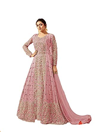 dd272b915f Women's Heavy Net Fabric Coding Embroidery Floor Length Anarkali Suit  (LNF182, Light Pink, XX-Large): Amazon.in: Clothing & Accessories