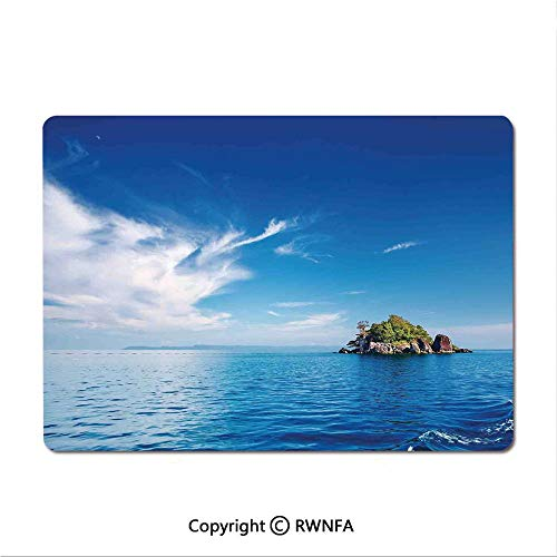 (Waterproof Keyboard pad,St. Pierre Island at Seychelles Natural Granite Relaxation Mediterranean(9.8