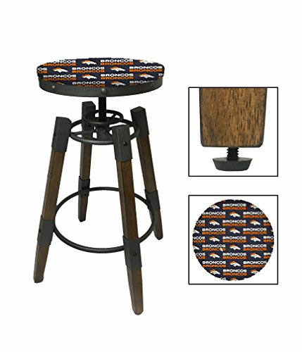 """1 - Adjustable 25""""- 30"""" Tall Industrial Wood and Metal Swivel Seat Bar Stool Featuring Your Choice of a Football Team Logo Fabric Seat Cushion (Broncos) - Bar Stool Americana"""