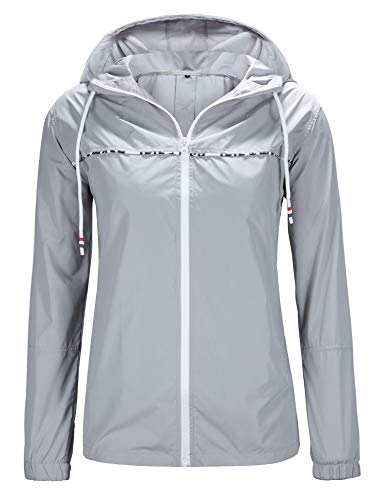 UUANG Women's Travel Rain Jacket Packable Windbreaker
