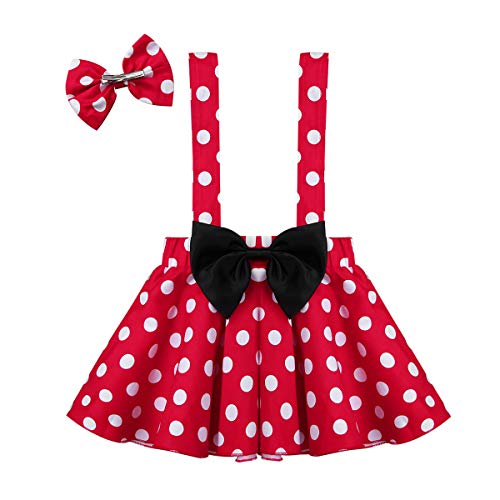 ACSUSS Baby Toddler Girls Cotton Pleated Polka Dots Buttons Suspender Skirt with Bowknot Hair Clips Red 18-24 Months