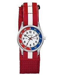 Reflex Kids Time Teacher Blue/White Stripe Fabric Velcro Strap Watch REFK0002