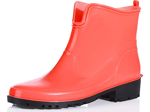 Ladeheid Women's Ankle Rubber Wellington Boots LA-930 Apricot