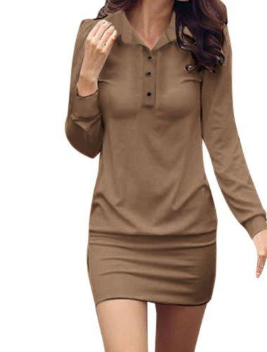 Allegra K Women Long Sleeve Buttoned Slim Fit Mini Shirt Dress