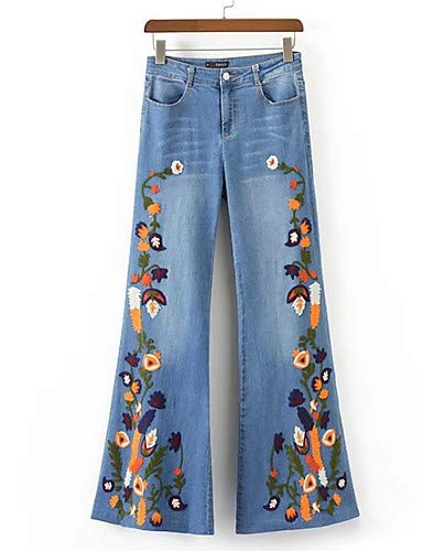 Women's Slim Jeans Pants  Floral Work,bluee,S