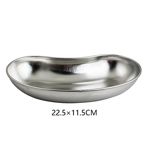 Pevor Stainless Steel Tray Kidney Bowl Basin Emesis Trays Surgical Dental Instrument Tray Large 8.8'' x 4.9'' x1.6'' by Pevor