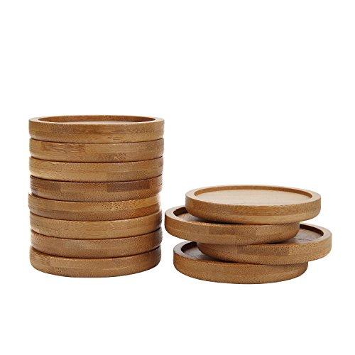 T4U 2.5 Inch Bamboo Mini Round Bamboo Tray Sandy Beige - Set of 12