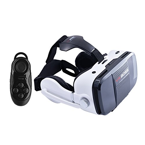 CLEVER BEAR Virtual Reality 3D Glasses with Headphone Microphone For 4.0-6.2 Smartphone (VR Boss With controller)