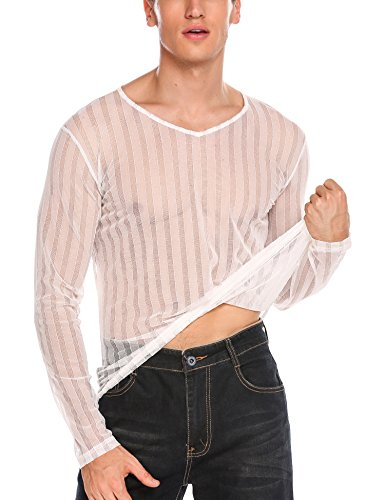 COOFANDY Men's Sexy See Through Shirts Clubwear Mesh Long Sleeve T-Shirt Tops - Sexy See Through Fishnet
