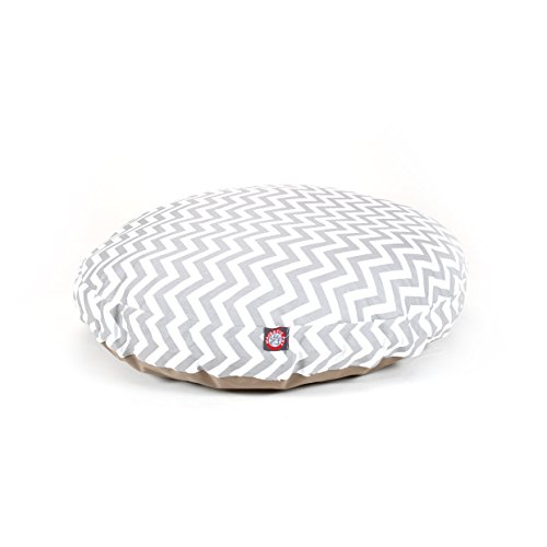 Large Grey Chevron Stripes Pattern Dog Bed, Elegant Zig Zag Stripe-Inspired Print Pet Bedding, Round Shape, Features Water, Stain Resists, Removable Cover, Soft & Comfy Design, Plush Polyester by CU