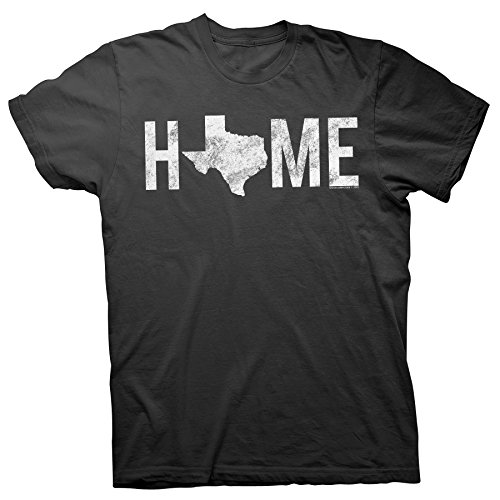 Texas is Home - Proud Texan Lone Star State Distressed T-Shirt - Black-XL ()