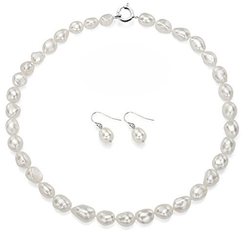 Sterling Silver 10-10.5mm White Baroque Freshwater Cultured Pearl Necklace 18 and Hoop Earrings Set by La Regis Jewelry