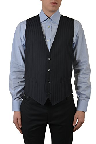 Dolce & Gabbana 100% Wool Navy Striped Men's Vest US 38 IT 48 ()