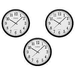 La Crosse Technology WT-3143A-INT 14-Inch Atomic Wall Clock, Black (3 Pack)