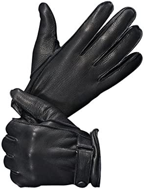 Men/'s Driving Leather Gloves Black White Deerskin Leather Perfect Gift