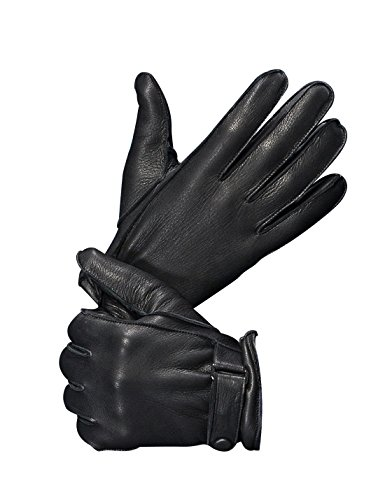 YISEVEN Men's Genuine Deerskin Leather extra soft micro fur lined Winter Gloves,Black,8.5