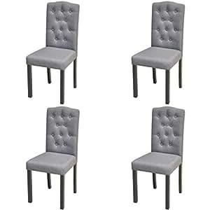 Vidaxl 2x sillas de sal n comedor cl sicas de madera tapizada tela gris oscura hogar - Sillas de salon clasicas ...
