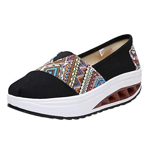 Deporte Wedge Casual de Lona Sneaker Running Cómodos 17impreso de Mujer Plataforma Mocasines Cuña Impreso Zapatillas Zapatos LINNUO 6HzqSz